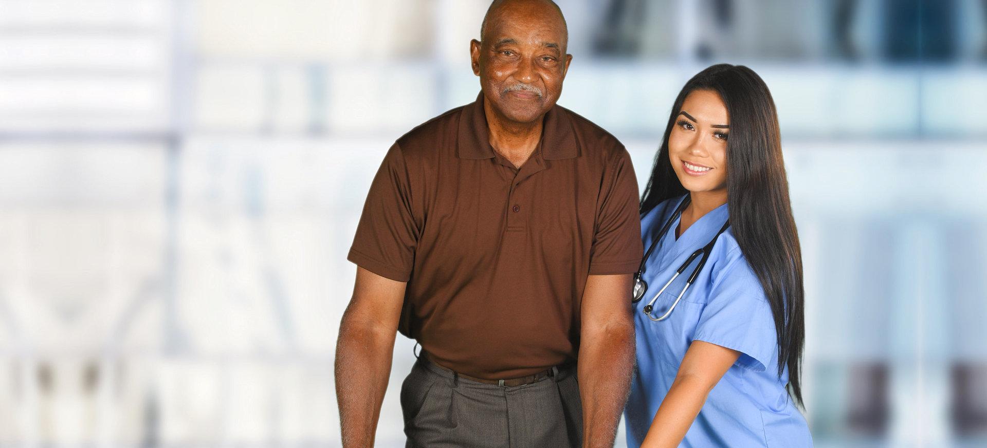 nurse and elder smiling